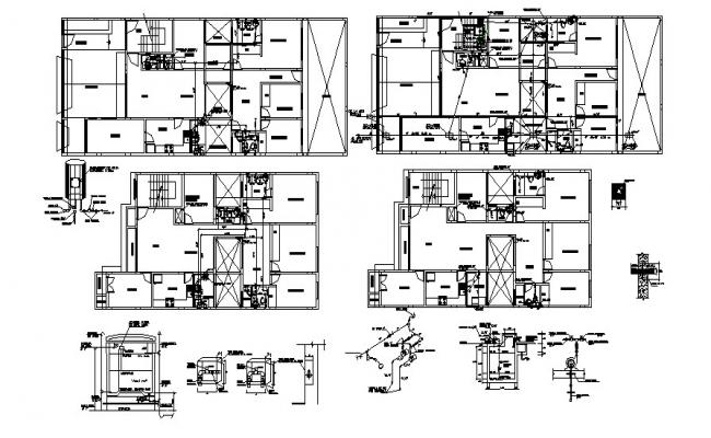 Residential house drawing with construction detail in AutoCAD