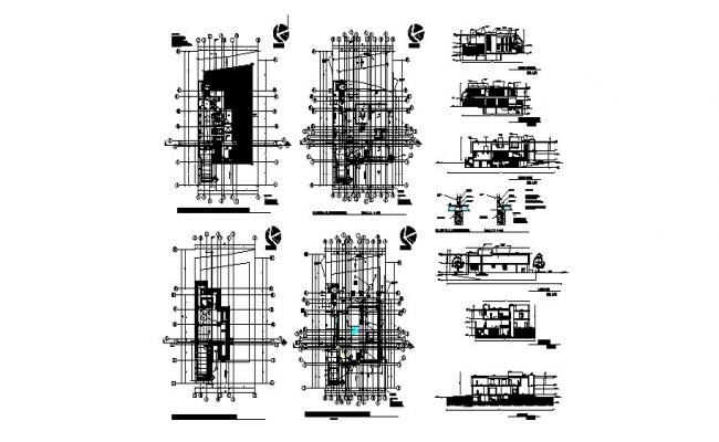 Residential house elevation, section and floor plan details dwg file