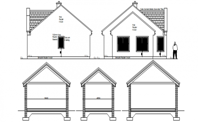 Residential house elevation in autocad