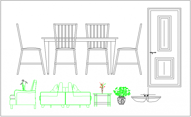 Residential house furniture dwg file