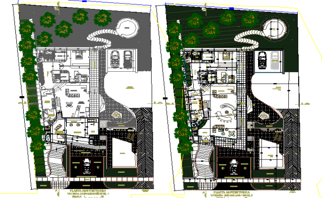 Residential house landscaping with structure details dwg file