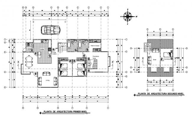 Residential house layout in autocad drawing