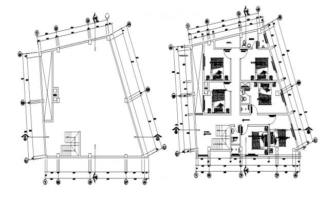 Residential house layout in dwg file