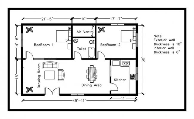 Residential house plan 1500 square feet