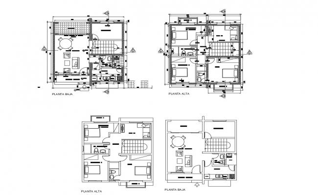 Residential building plans in AutoCAD file