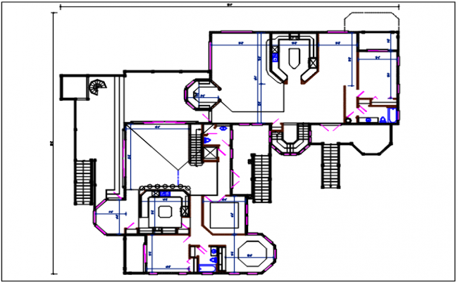 Residential house plan detail with dimension furnisher in room dwg file