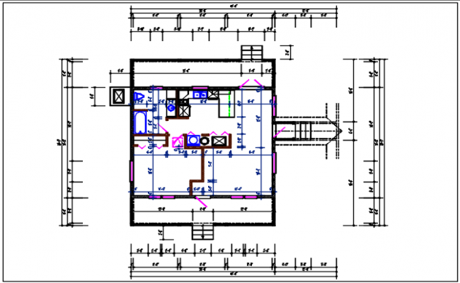 Residential house plan detail with dimension,  furnisher in room detail dwg file