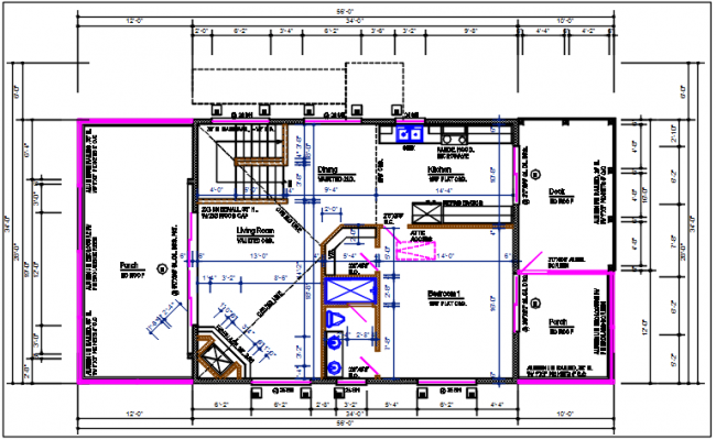 Residential house plan detail with dimension and furnisher in room detail dwg file