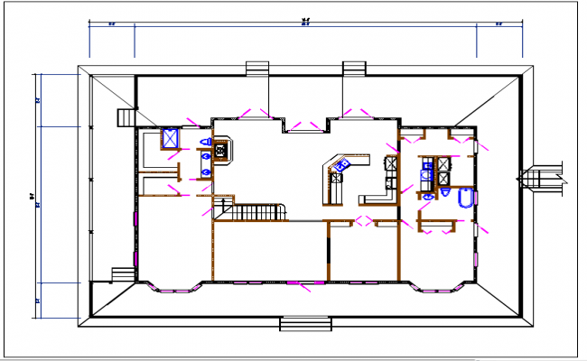 Residential house plan detail with plan view detail dwg file