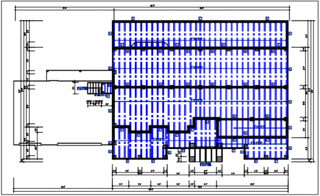 Residential house & roof projection plan view dwg file