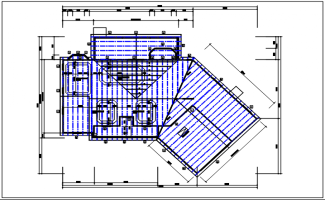 Residential house and roof projection plan view detail dwg file