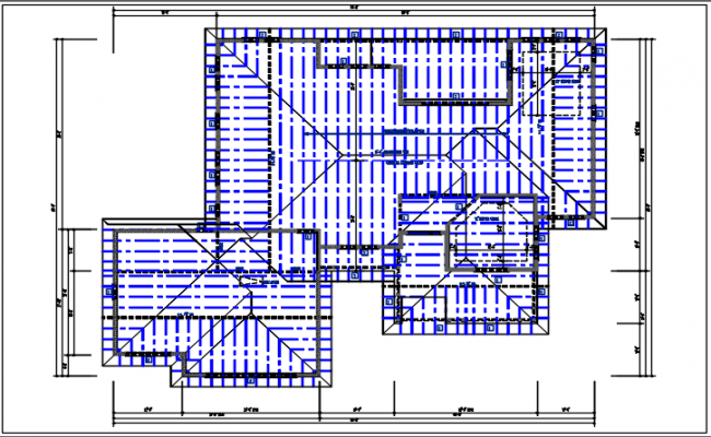 Residential house plan & roof projection view detail dwg file