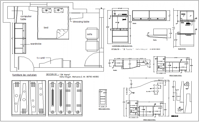 Residential house plan of bedroom plan view detail information dwg file