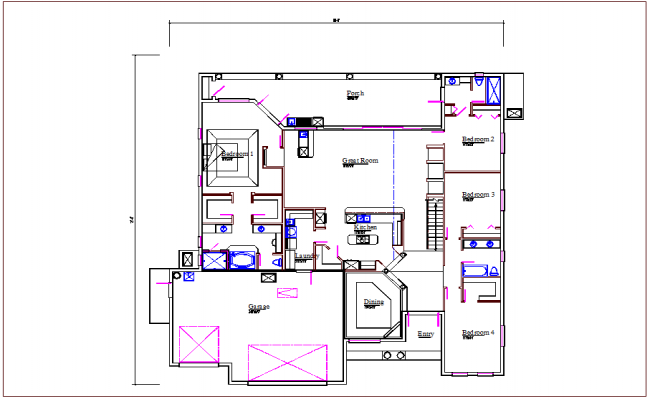 Residential house plan view detail dwg file