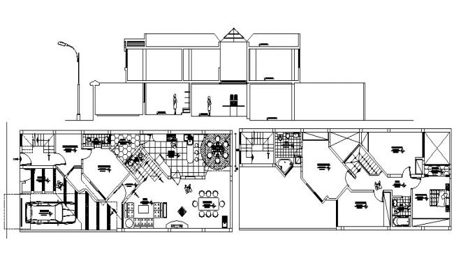 Residential house plan with elevation in dwg file