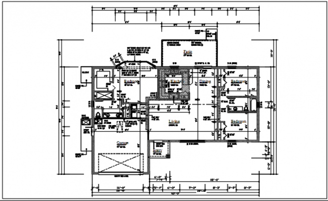 Residential house view details dwg file