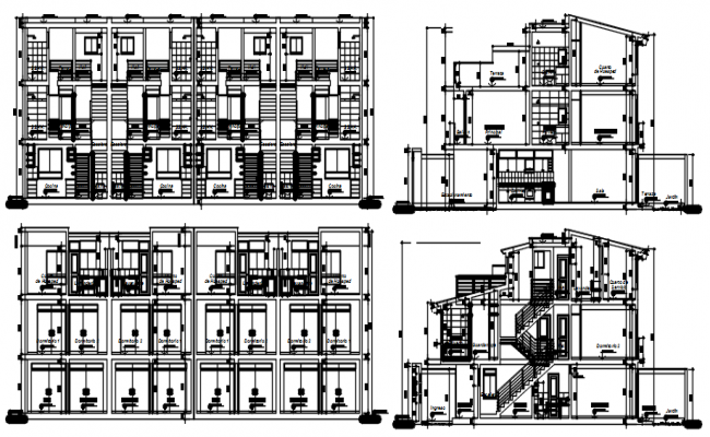 Residential house with detail dimension in dwg file