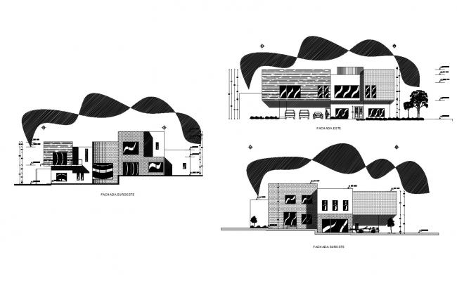 Residential house with elevation details in dwg file