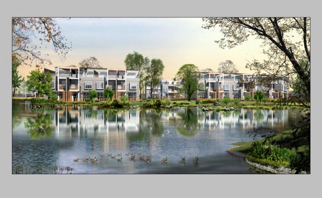 Residential housing area detail elevation 3d model Photo-shop file
