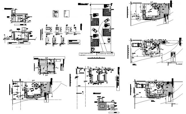 Residential housing building plan and section detail dwg file
