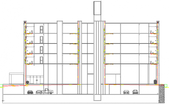 Residential housing building sectional view of sanitary installation dwg file