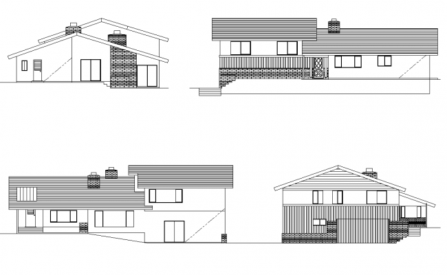 Residential housing building structure elevation 2d view layout autocad file