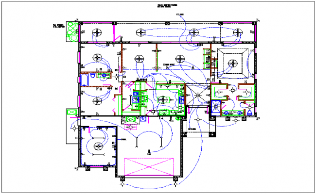 Residential housing plan and electric layout detail view dwg file