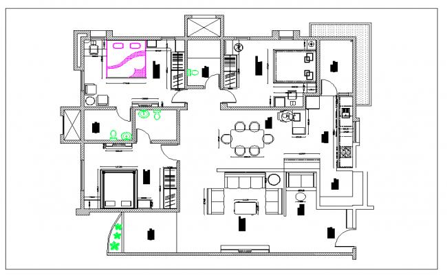 Residential housing plan view detail dwg file