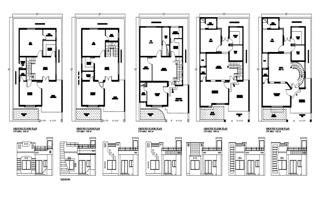 Residential housing structure building layout plan and elevation in autocad format file