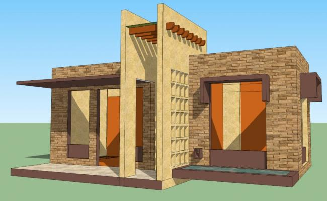 Residential housing structure detail CAD block sketch-up file