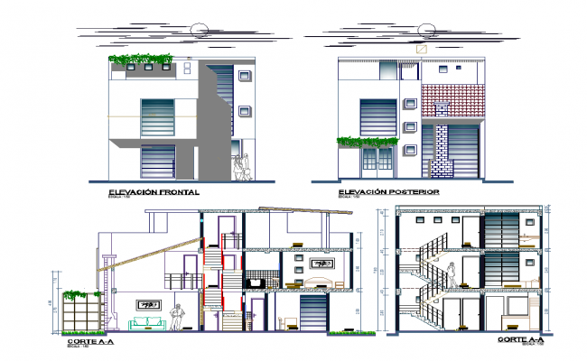 Residential housing structure detail elevation and section layout autocad file