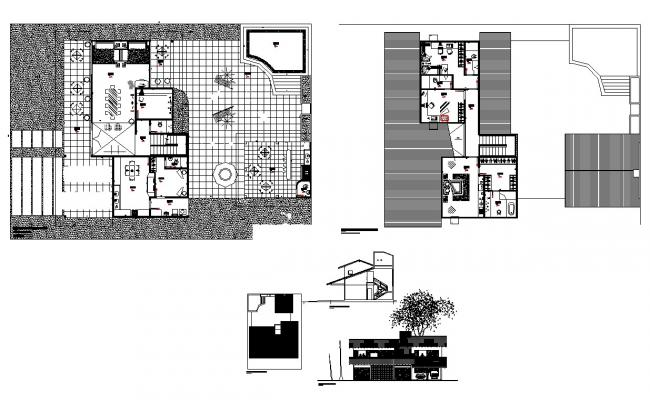 Residential housing structure detail plan and elevation 2d view layout autocad file