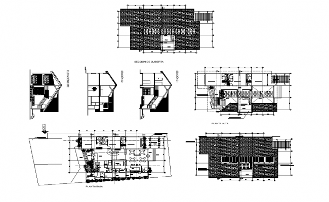 Residential housing structure elevation, plan and section layout file