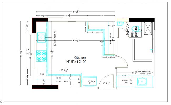 Residential kitchen plan layout detail dwg file