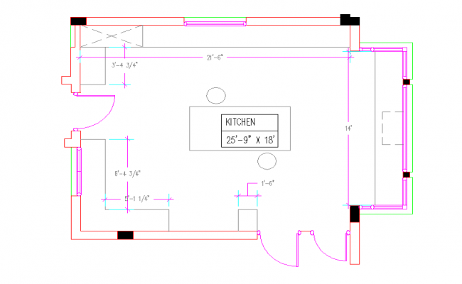 Residential Kitchen Plan Layout With Detail Dimension Dwg File