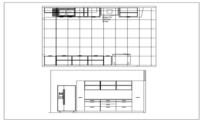 Kitchen Plan Elevation View : Residential kitchen plan view and elevation dwg file