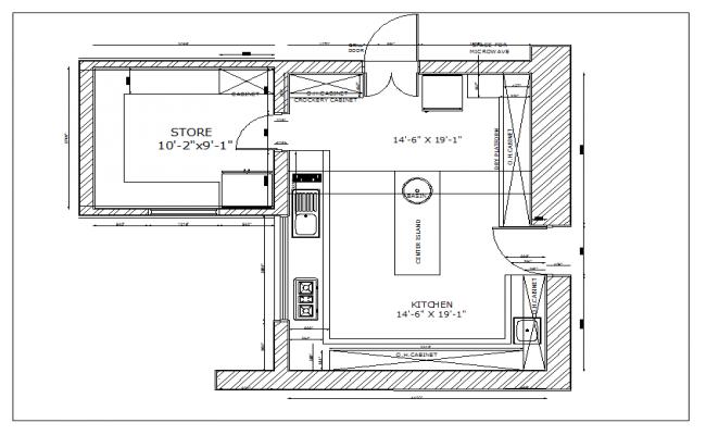 residential kitchen plan view detail dwg file - Kitchen Plan