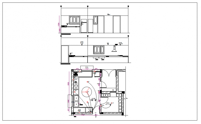 Residential kitchen plan view with furniture and elevation detail dwg file