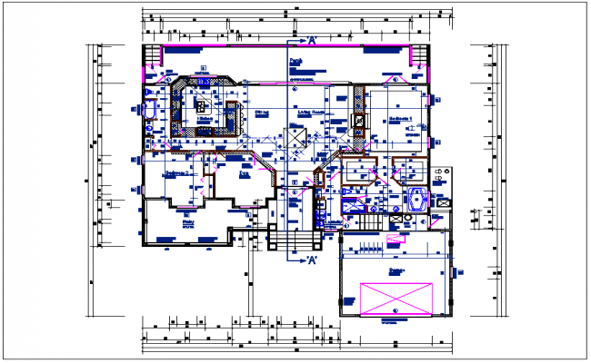Residential luxurious house plan view detail dwg file