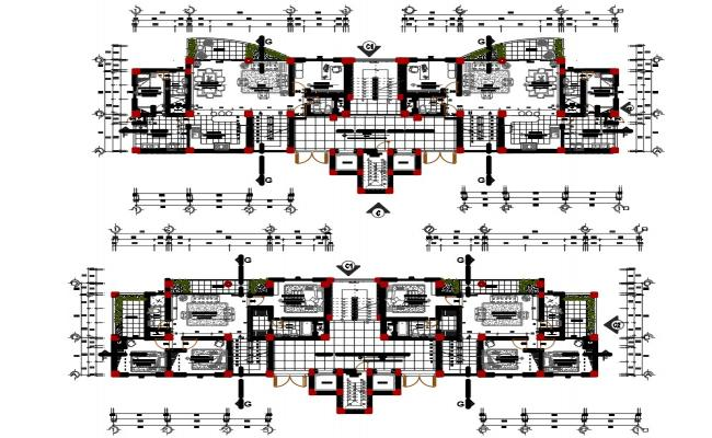 Residential multiple family house plan in dwg file