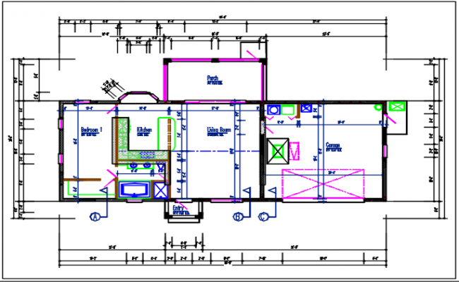 Residential plan detail of the dwg file