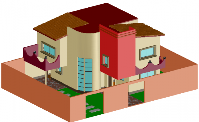 Residential property 3 D view detail dwg file