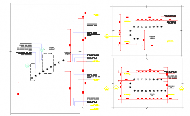 Residential structure and corridor handrail detail view dwg file