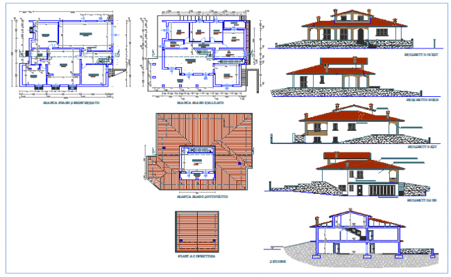 Residential villa design drawing