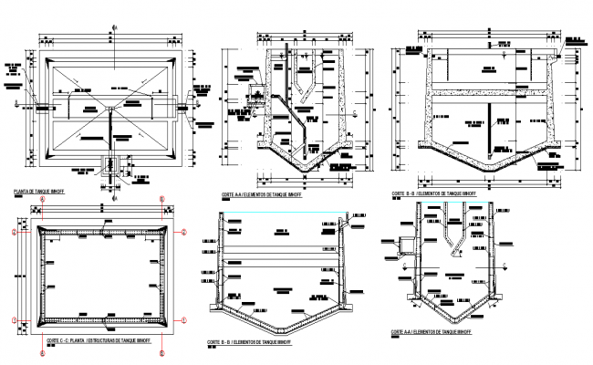 Residual water treatment plant detail dwg file