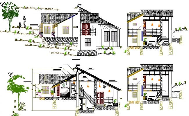 Resort Elevation Plan : Resort design and elevation plan dwg file