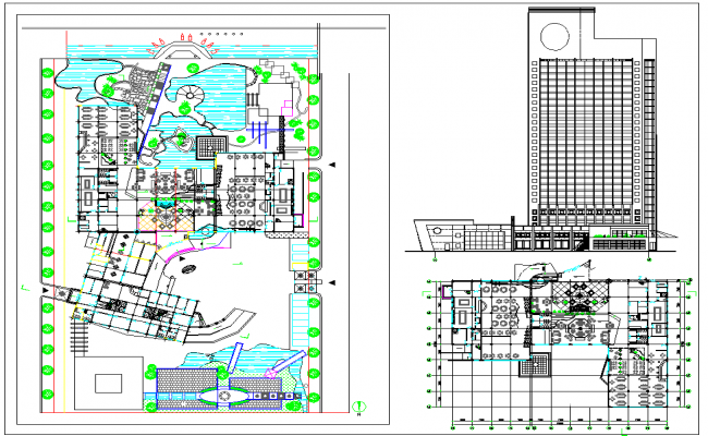 Resort Layout Plan with Elevation design