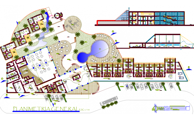 Resort Project Layout detail dwg file