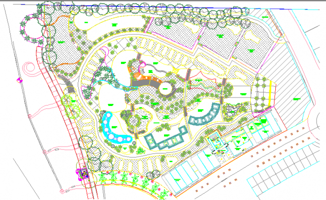 Resort and hotel layout plan dwg file