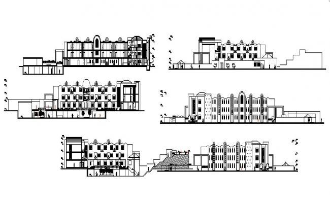 Resort building design with elevation details in AutoCAD